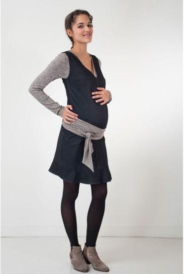 Robe chasuble de grossesse  denim noir