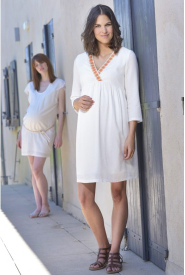 robe de grossesse courte ecru