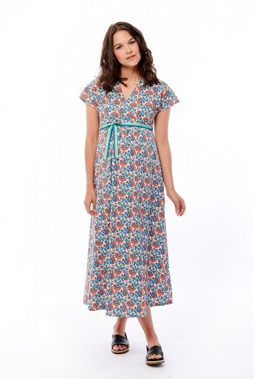 robe longue grossesse imprimé feuillage