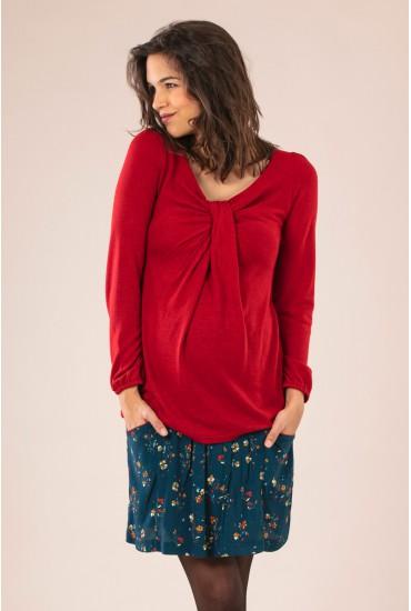 top grossesse col v drapé rouge