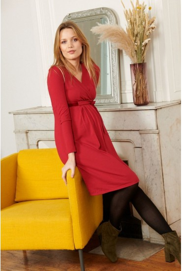 Robe grossesse taille empire rouge
