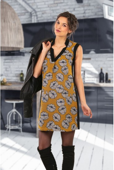 Robe chasuble de grossesse jacquard curry