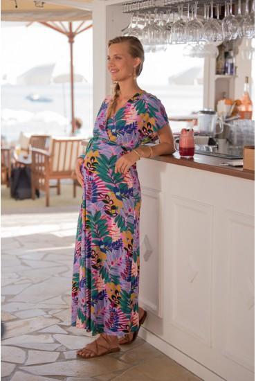 Robe longue de grossesse imprimé jungle