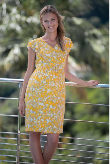 Robe de grossesse imprimé fleur soleil