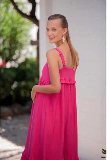 Robe longue de grossesse satin rose