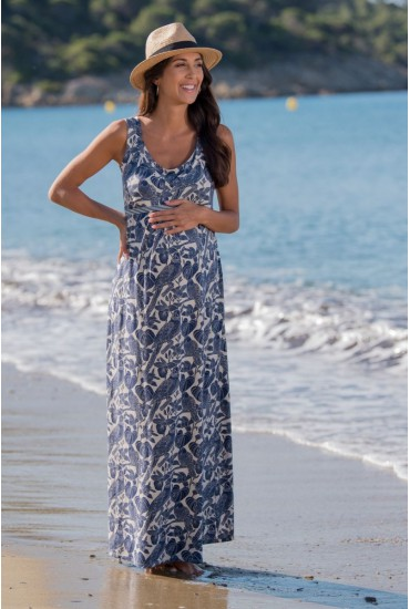 Robe longue de grossesse Felicie navy