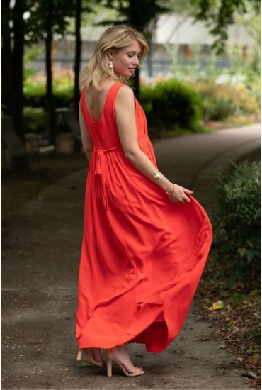 Robe longue plissée Paula