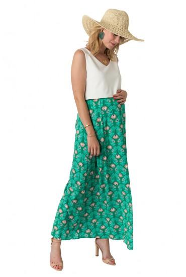 Robe longue de grossesse Catarina fond vert