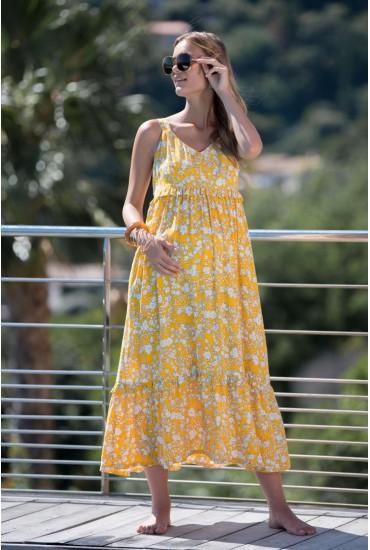 Robe longue de grossesse imprimé fleur soleil