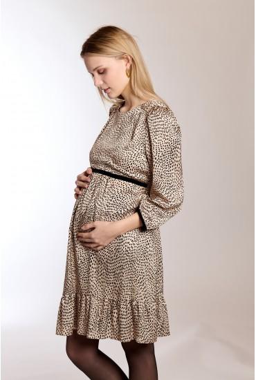 Robe de grossesse satin fauve nude
