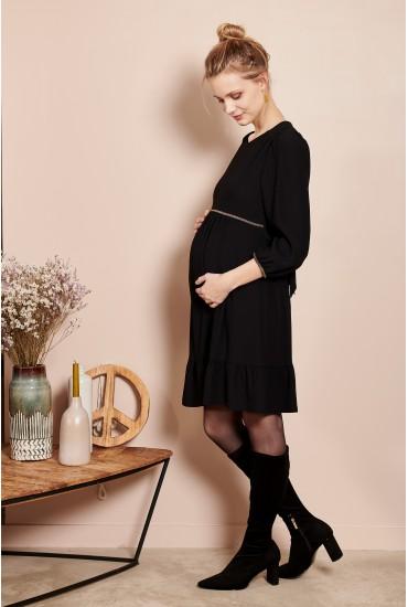 Robe de grossesse satin noir