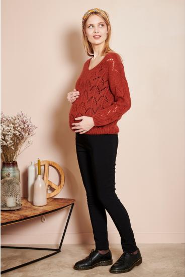 Pull de grossesse en maille ajourée
